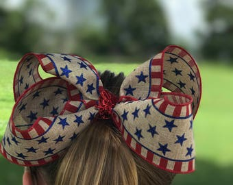 5 1/2 or 7 inch Fourth of July burlap hair bow