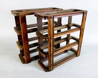 Antique Singer Treadle Sewing Machine Tiger Oak Drawer Frame Set of 2