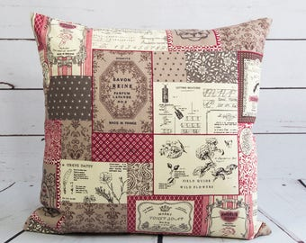 patchwork print pillow cover, 16 inch floral red cream brown postcard design cushion cover, vintage french perfume soap label cushion cover