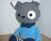 Handmade Crochet Toy, Soft Toy, Stuffed Animal, Amigurumi Cat - Alvin