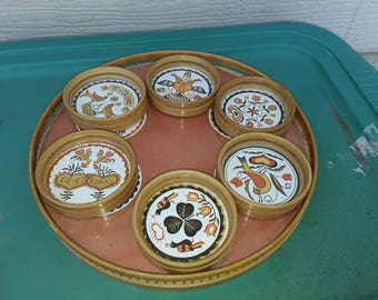 Vintage Round Bamboo Tray and Coaster Set, Inlaid Amish Hex Signs Under Glass, Wilkum