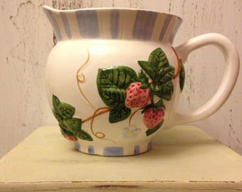 Beautiful raised strawberry ceramic Pitcher/ planter/ Vase/kitchen utensil