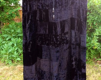 Plus Size Black Crushed Velvet Patchwork Maxi Skirt/ Beach Goth / Witchy
