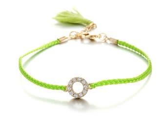Bracelets - Green - Brass, Thread, Zircon - Elegant - Anniversary