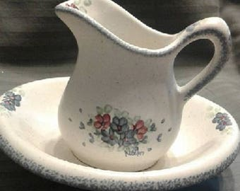 Bowl and Pitcher Set, By Noel, Towasket, Washington, Discontinued,RARE, Hand painted Stoneware Pottery