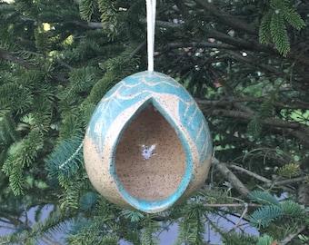 bird feeder, ceramic bird feeder, pottery bird feeder, hand made bird feeder