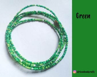 Go Green - Waist Beads - Belly Chain - Belly Beads - African Waist Beads