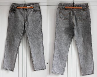 ARIZONA 80s Jeans Vintage High Waisted Denim Trousers Classic fit Gray stoned color Men 1980 retro Clothing / W34 L30 / Large size