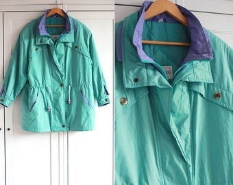 VINTAGE Jacket 1990s Turquoise and purple Oldschool coat for Autumn Oversized unisex outerwear Thick and warm Retro clothing / Extra Large