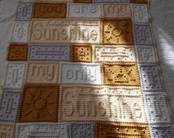 Sunshine Crochet Word Popcorn Afghan Blanket