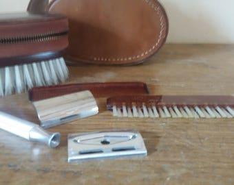 Vintage Gillette grooming kit, men's 1960s shaving and brush kit in leather case, retro mens gift