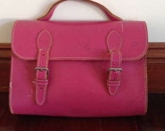 Pink Leather School Satchel (free shipping)