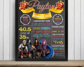 SALE Descendants Birthday Chalkboard,4th, 5th Birthday Chalkboard, Birthday Poster, Descendants 2 birthday stat Descendants 2 Party, Any Age