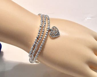 Silver Stacking Bracelet, Valentines Day Gift, Silver Bead Bracelet, Silver Heart Bracelet, Silver Charm Bracelet, Silver Heart Charm,