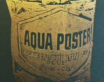 Aqua Poster Relief Print With Gold Dust