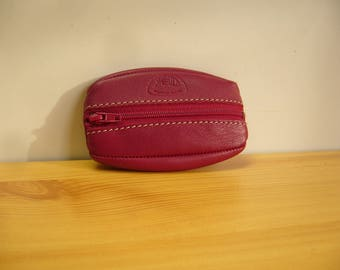coin purse with a zipper extra flat soft calfskin color Ruby (Raspberry)