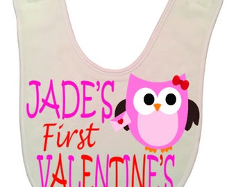 Personalized | Valentines day | Baby Bib | Cute Infant Bib | Newborn baby gift | 1st Valentine's Day | Baby's 1st | Baby, infant | Custom