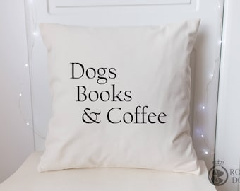 Dog Lover Cushion Cover | 45 x 45 | Dogs Books & Coffee Cushion | Dog Lover Gift | Dog Lover Cushion Cover |