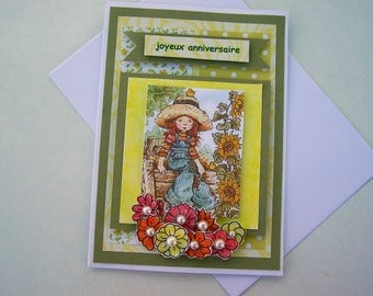 made double birthday handmade green lime and white A2 card