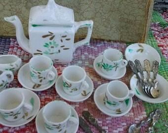 Antique Tea Set circa 1910 porcelain doll child tea set.Handpainted.excellent condition.lowered price