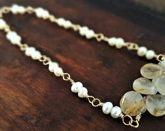 Gold Rutilated Quartz And Pearl Bracelet, Real Rutilated Quartz, Gold Pearl Bracelet, Gold Filled Bracelet, Pearl Jewelry, Gift For Her