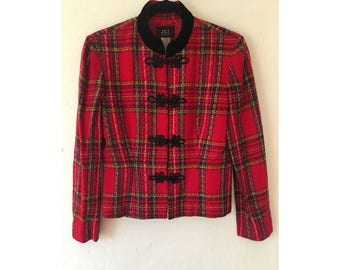 Tartan Plaid Jacket/ Plaid Jacket/ Nehru Jacket/ Mandarin Collar Jacket/ Punk Clothing