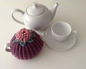 Crochet Tea Cosy, 1-2 cup teapot, retro, pink, purple,Handmade, Tea pot cover, campervan, style