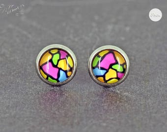 Earrings stainless steel cabochon colorful pattern 8 mm * stainless steel * stud earring