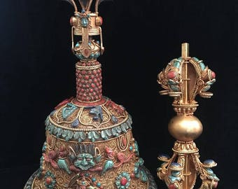 Masterpiece Nepal Buddhist Bell & Vajra crafted with Gem Inlay Lapis Coral Turquoise