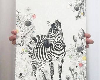 Zeb-photo collage graphic zebra animal print home decor A3 A4