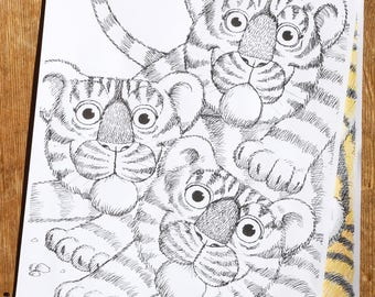 Tiger,cubs,cute,animal,baby,stripes,tail,eyes,ears,download,sheet,page,colouring,