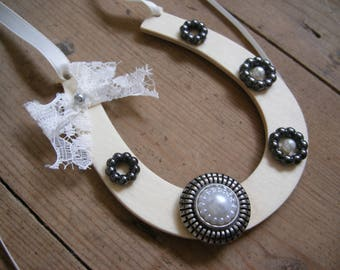 Lucky Wedding Horseshoe  Victorian style  Gift for Bride  Gift for her  Keepsake