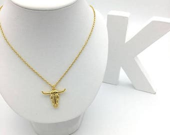 Necklace 24 K Gold gilded leaves head