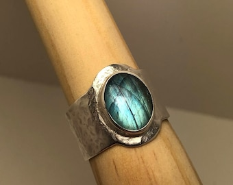 Hammered silver and labradorite ring size 9