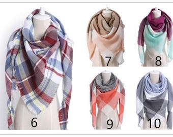Plaid Blanket Scarf, Christmas Gifts, Gift For Her, Scarves for Her, Xmas Gifts For Her, Scarves for Women