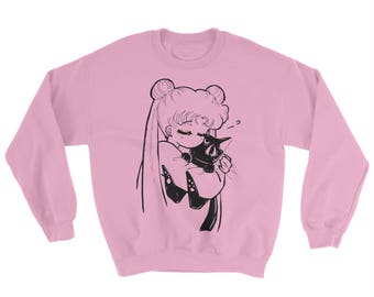 SAILOR MOON - Oversized Sweater, anime, Usagi, Luna, kitty cat, Serena
