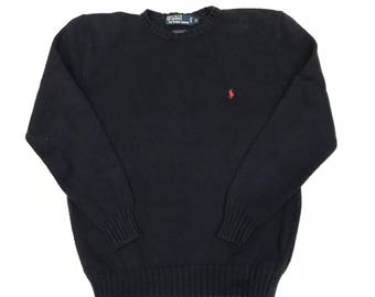 Vintage Ralph lauren - Navy SM PONY Knit Sweater  - Small