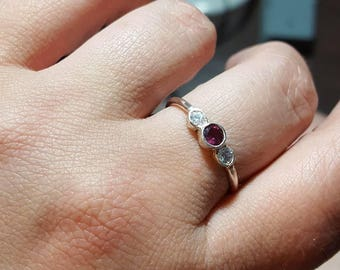 Rhodolite and cubic zirconia silver ring.