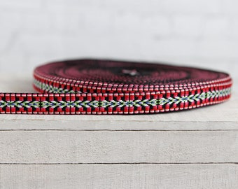 Ribbon trims ethnic pattern band red black white green blue hippie boho width 2 cm
