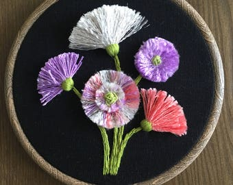 Hand Embroidered Flowers on Black
