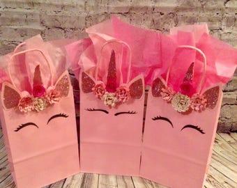 6 pink unicorn bags goodie bags treat bags goody bags