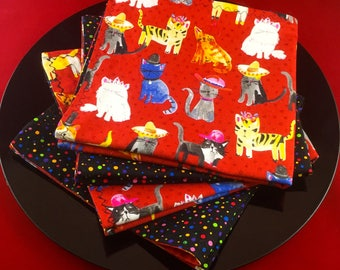 Napkins for Cat Lovers:  Adorable Cats in Hats Colorful Fun Napkins Red Background, Reverse Side is Colorful Dots on Black