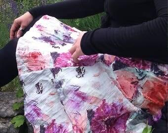 Summer skirt, stage skirt, silk skirt, flower skirt