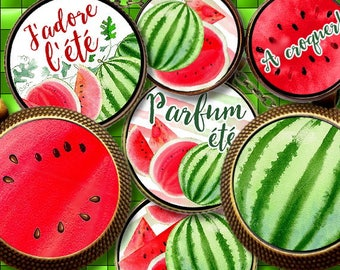 WATERMELON PASTEQUE ID 1 id Digital Collage Sheet Printable Instant Download for art jewelry scrapbooking bottle caps magnets pins