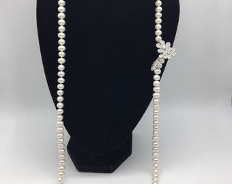 Long flower freshwater pearl necklace Free shipling