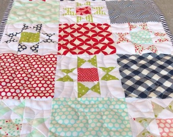 Quilted Table Runner, Patchwork runner, Handmade, vintage, scrappy stars, table decor, runner, quilted, tablecloth, cottage, farmhouse decor