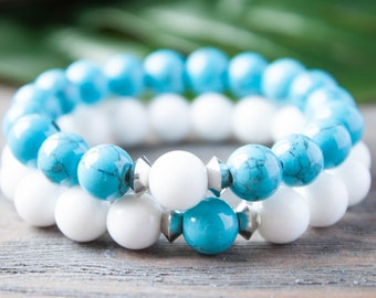 Couples Bracelet His and Hers Turquoise Jade Long Distance Relationship His and His Matching Bracelets Distance Bracelets Gay Couple Jewelry