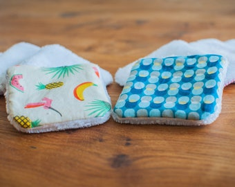 10 reusable washable cottons - cleansing and hygiene (tropical and Blue design)