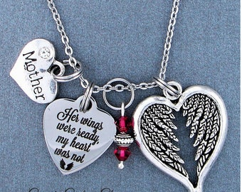Mother ~ Her Wings Were Ready, My Heart Was Not Memorial Necklace, Swarovski Birthstone, Sympathy Jewelry Memorial Gift, Personalized Gift