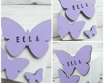 Butterfly, Butterflies, Block, Personalised, Wooden Block, Special, Gift, Name, Stamped, Unique, Cube, Square, Decor, Bedroom, Boy, Girl